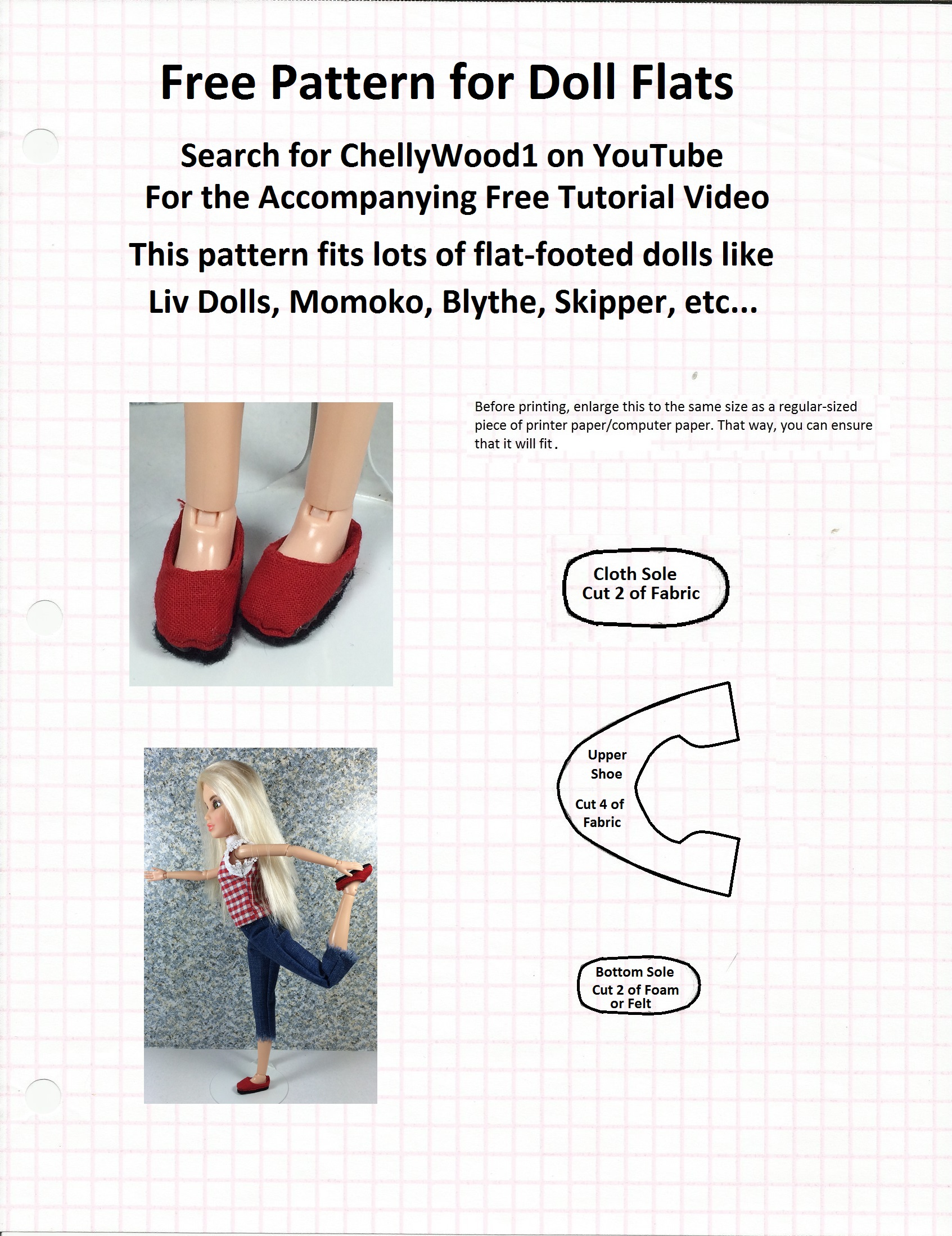 Free sewing pattern fits momokodoll blythedoll and pullipdoll pattern for red flat shoes jeuxipadfo Gallery