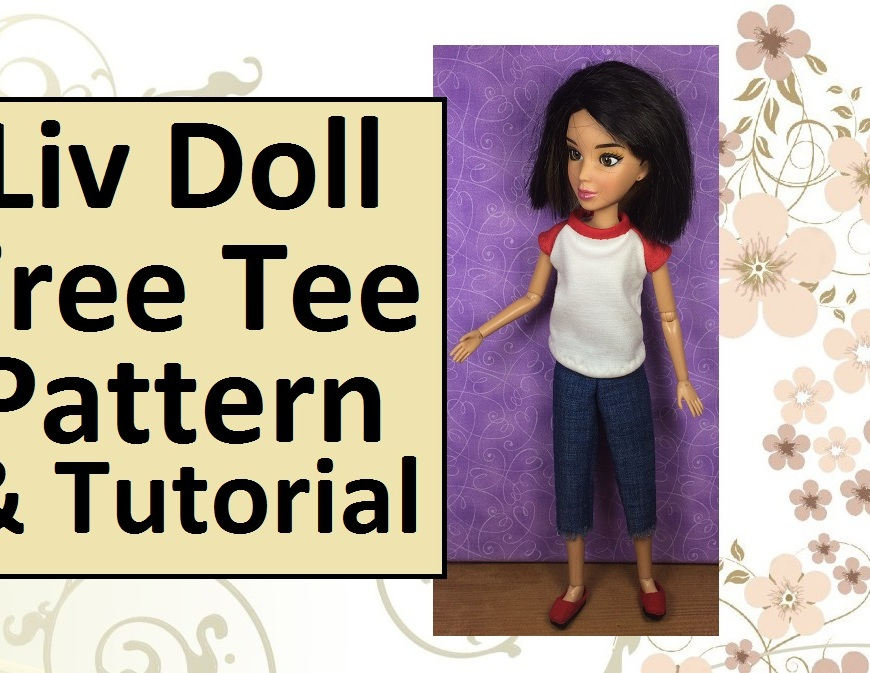 "Image of Liv Doll wearing comfy, handmade raglan-sleeved T-shirt. Overlay of words say ""Liv Doll FREE Tee Shirt pattern and Tutorial"""