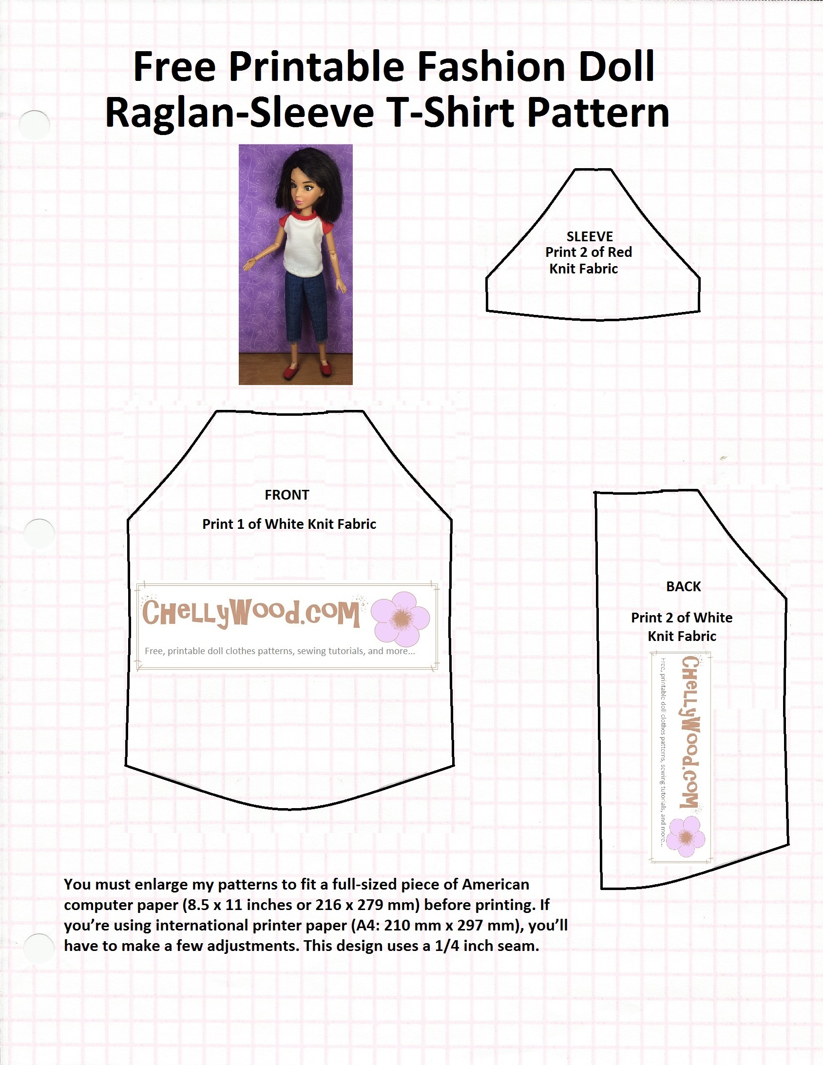 image relating to T Shirt Pattern Printable named Sew a Raglan-Sleeve #Tshirt for your #LivDoll w/a Free of charge