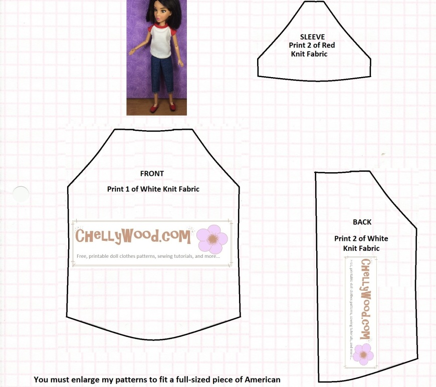 Sewing pattern for doll-sized T-shirt, fits Blythe, Momoko Dolls, Skipper, and Liv Dolls