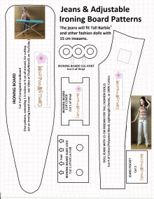 """Image of tall Barbie wearing handmade jeans on a pattern for sewing a pair of these jeans. Overlaying words say """"Jeans and adjustable ironing board patterns"""" and smaller words say """"The jeans will fit Tall Barbie TM and other fashion dolls with 15 cm inseams. Image includes ironing board pattern and is stamped with ChellyWood.com on all patterns"""