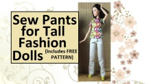 """Image of tall Barbie wearing white jeans. Overlay says, """"Sew pants for tall fashion dolls (includes free pattern)"""""""
