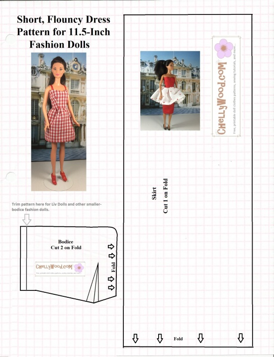 Free Sewing Pattern for #FashionDoll Strappy #DollDress @ ChellyWood ...