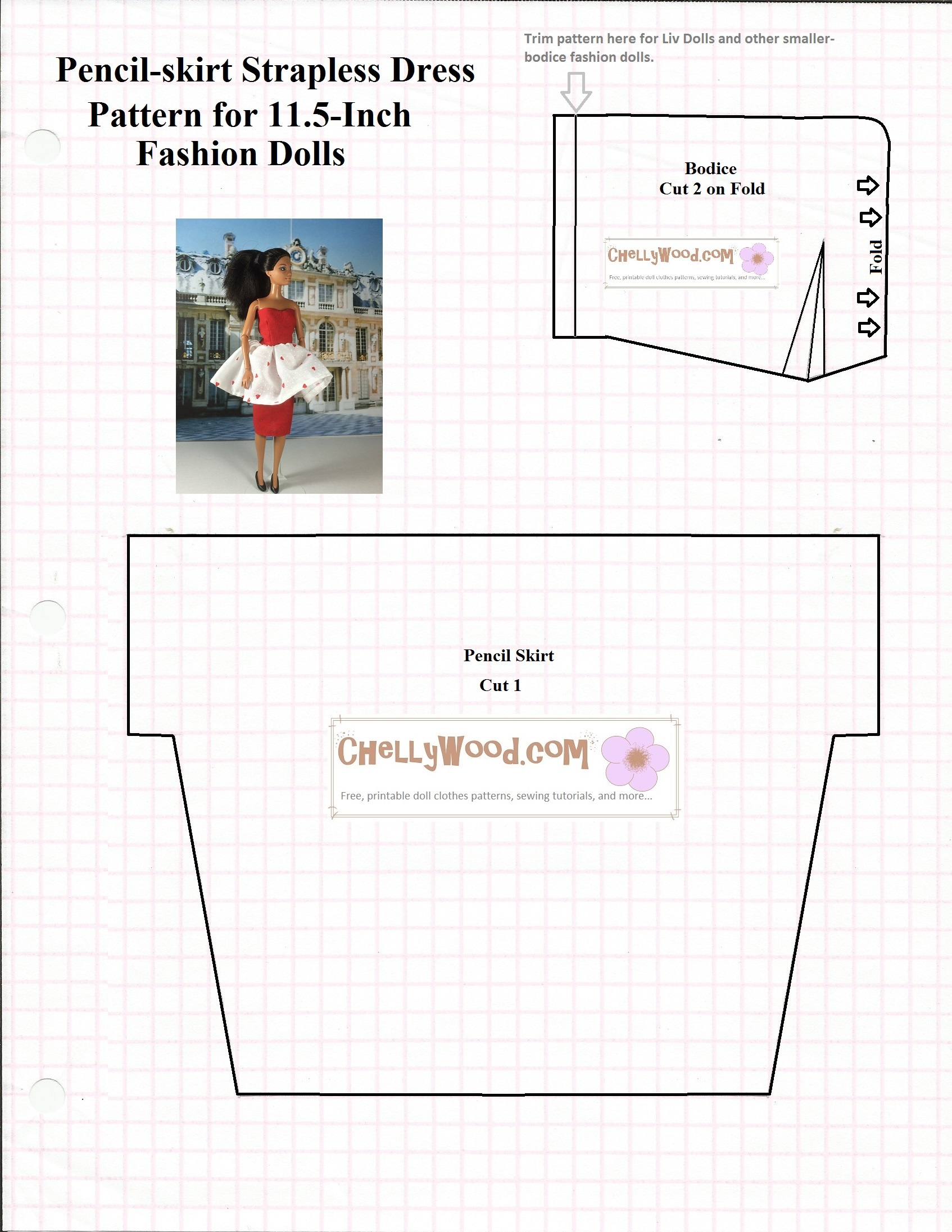 Free printable #sewing pattern for #romantic #dolls dress @ ChellyWood ...