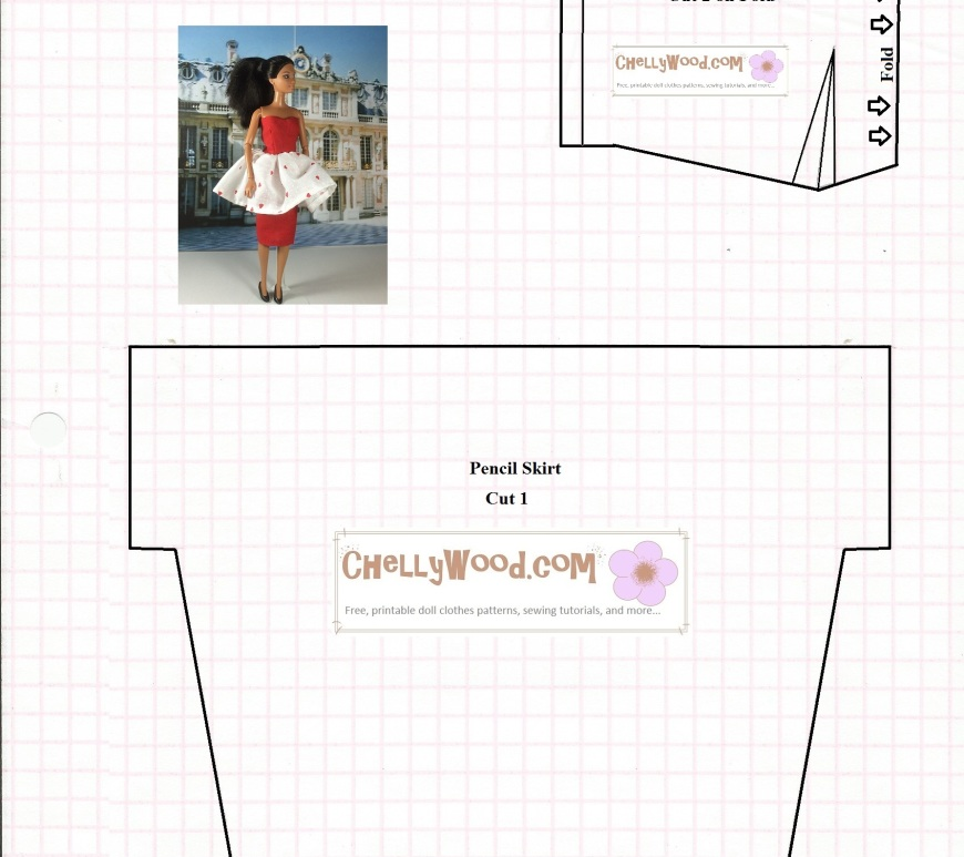Image of sewing pattern for pencil skirt and heart-shaped bodice for strapless or strappy pencil skirt dress to fit Barbie-sized 11.5 inch fashion dolls. Adaptation allowed for Liv dolls and other dolls with smaller chest measurements. Image includes photo of Barbie doll wearing pencil-skirt-dress with flouncy skirt adaptation in Valentine's Day patterned fabric with a smattering of tiny hearts on the fabric.