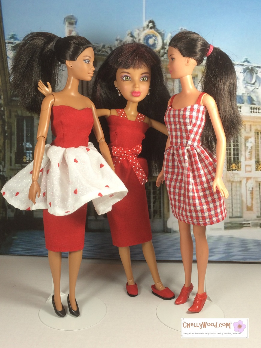 """Images of two Barbie dolls and one Liv doll wearing pretty red dresses for Valentine's day. Overlapping URL says """"ChellyWood.com: free printable sewing patterns and tutorials"""""""