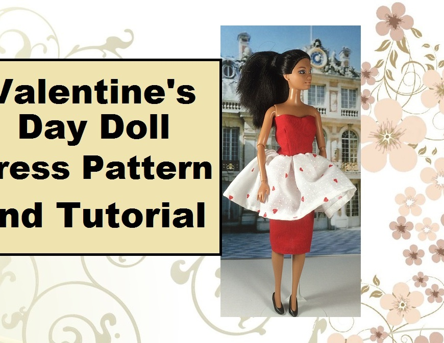 """Image of YouTube header displaying doll in red pencil skirt with flouncy overskirt and heart-shaped bodice. Overlaying words say, """"Valentine's Day Doll Dress Pattern and Tutorial"""""""
