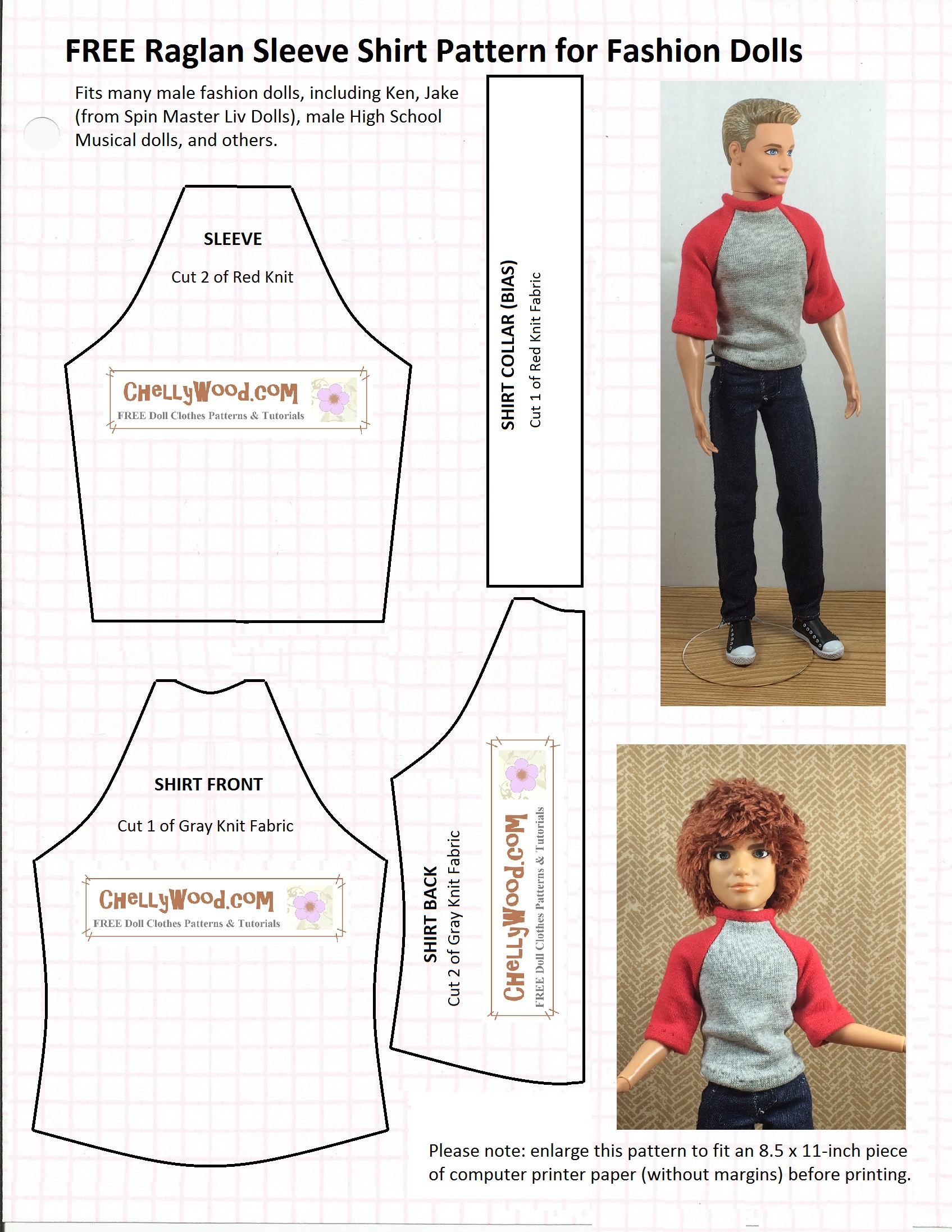 Old pattern page chelly wood tutorial for making a tie for fashion dolls raglan sleeved shirt pattern raglan jeuxipadfo Image collections