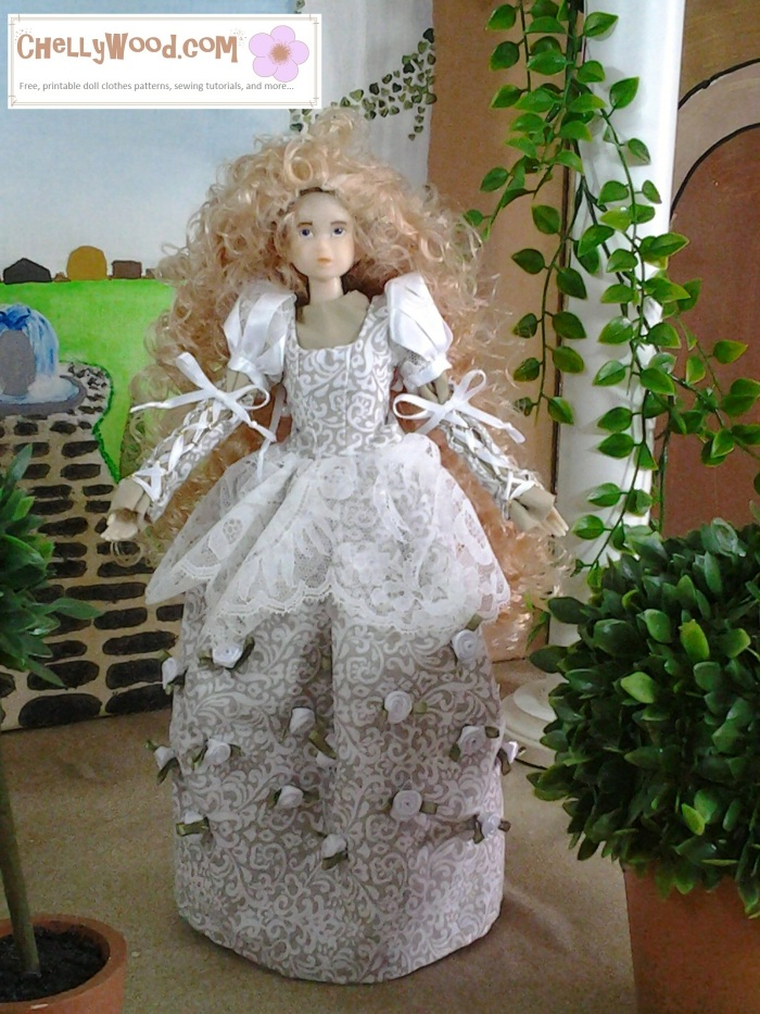 """Image of Momoko Doll in hand-made wedding gown. Watermark says """"ChellyWood.com""""."""