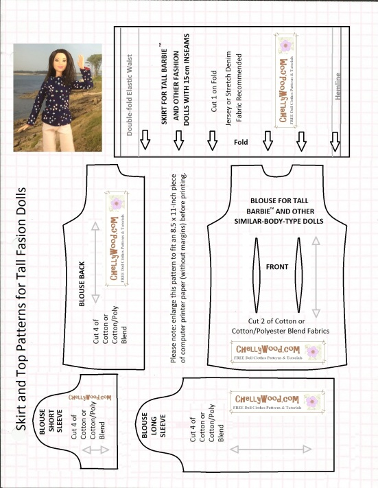 "of printable sewing patterns. Overlay says ""Skirt and Top Patterns ..."