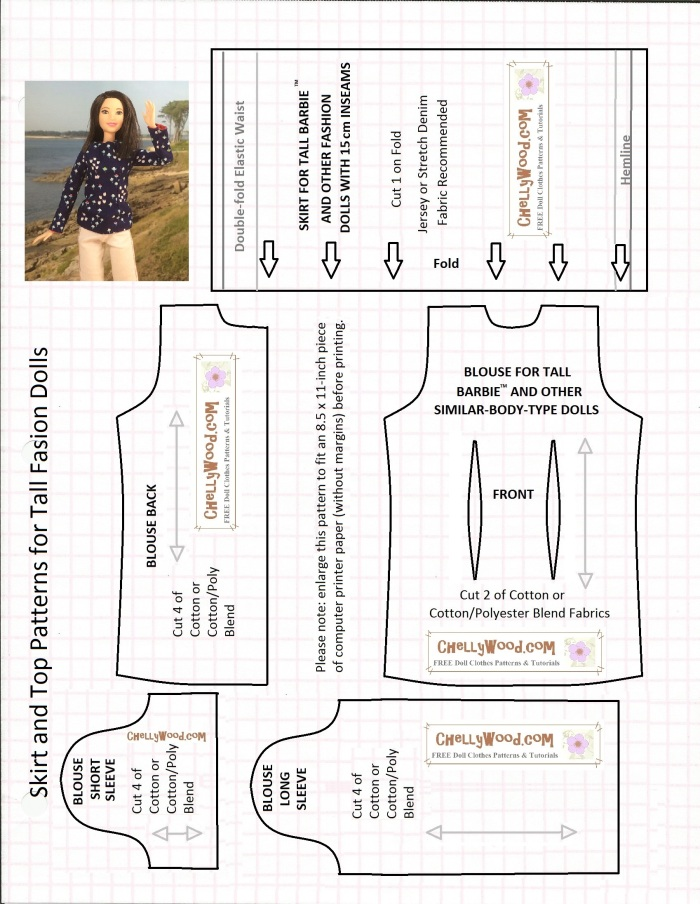 """Image of Mattel's Tall Barbie from the Fashionista line waving at the camera atop a series of printable sewing patterns. Overlay says """"Skirt and Top Patterns for Tall Fashion Dolls"""" with a note: enlarge the pattern to fit an 8.5x11-inch piece of computer printer paper (without margins) before printing. Mattel's Barbie is a trademark name."""