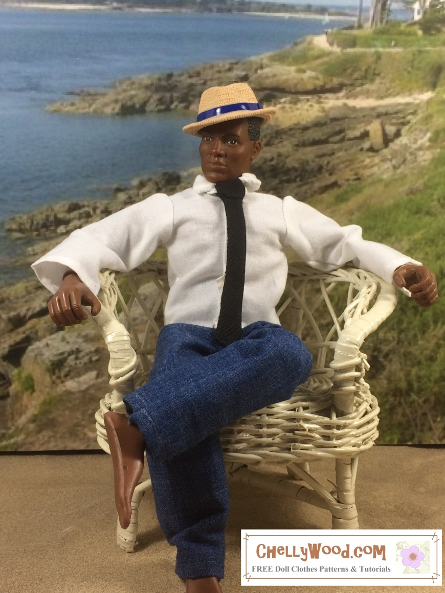 """Image of African American GI Joe doll seated in a wicker chair with a beach background. He wears a hand-made shirt, tie, and jeans. His plastic fedora is designed to look like it's made of straw, and he wears it tilted at an angle. Even shoe-less in the sand, he looks very dapper! Overlay says, """"ChellyWood.com: free printable doll clothes patterns and tutorials."""""""