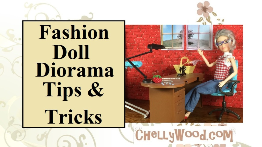 """Image of fashion doll seated at a re-painted desk with miniature lamp, sewing machine, pin cushion, sewing basket, and tiny buttons. Overlay says, """"Fashion Doll Diorama Tips and Tricks""""."""