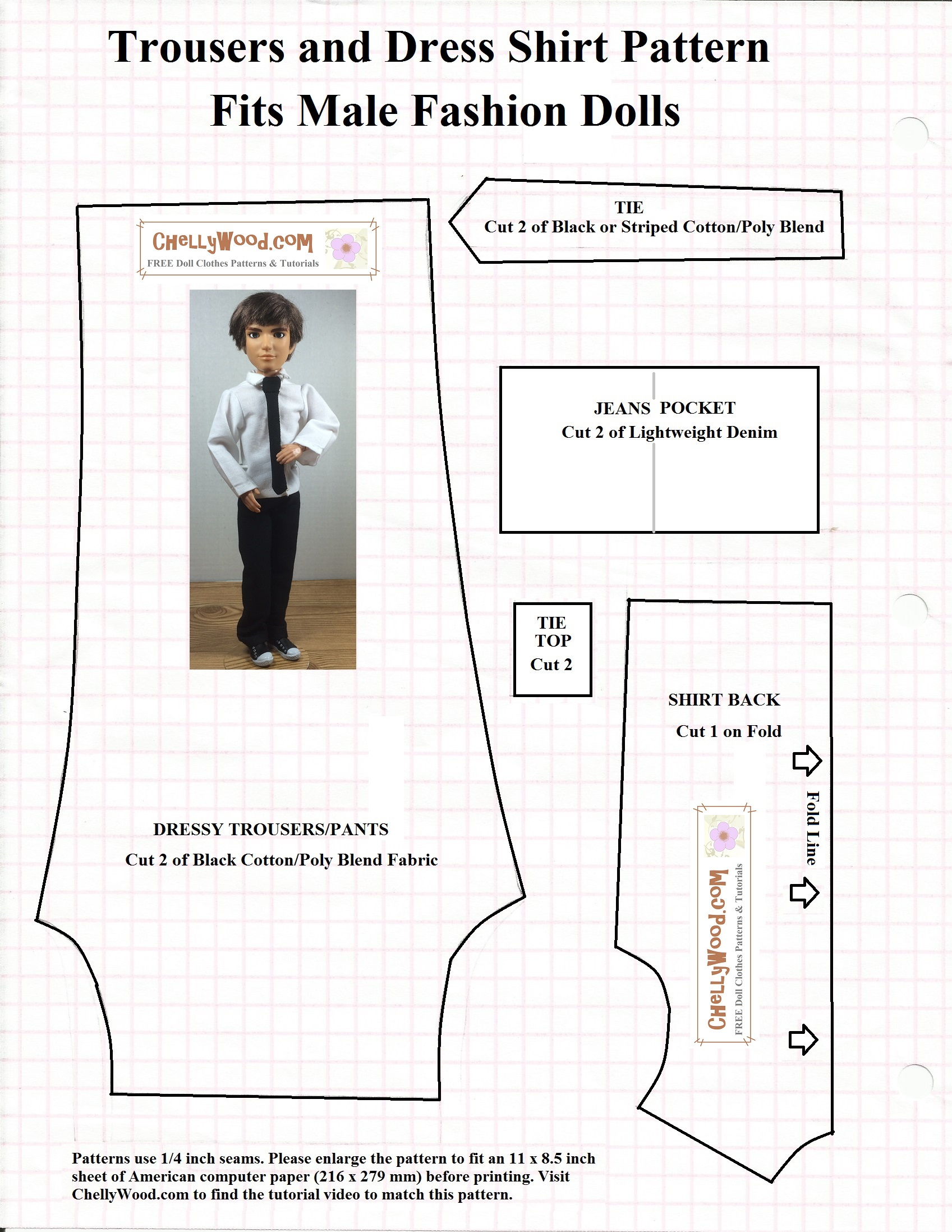 picture about Free Printable Ken Doll Clothes Patterns named No cost Printable #Sewing Models for Ken #Dolls #Apparel