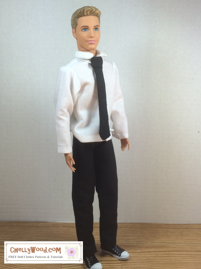 Image of Mattel's Ken doll dressed in handmade white-collared shirt, black pants, and black tie. He looks very dapper on a white background and wooden floor.