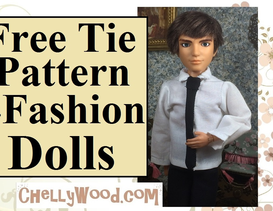 "Image of Spin Master Liv Doll Jake wearing a collared shirt and tie, with overlay of words ""FREE Tie Pattern for Fashion Dolls"" and beneath it says ChellyWood.com."