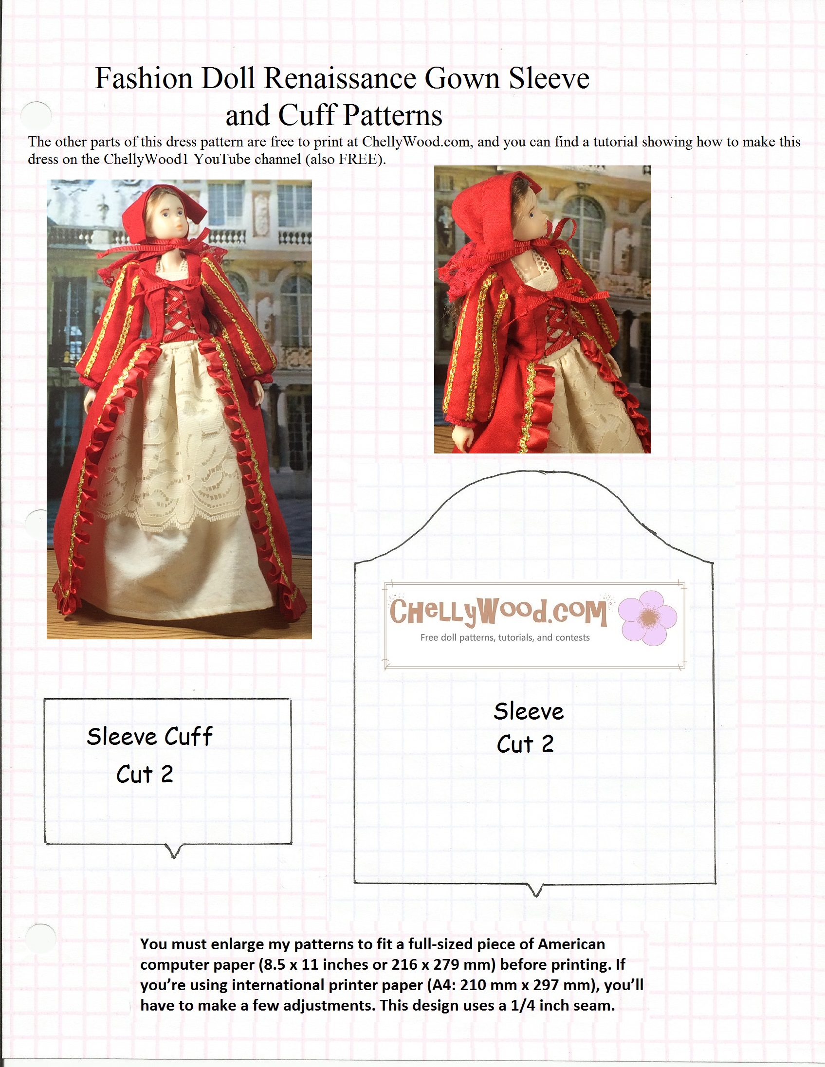 Free sewing pattern fits momokodoll blythedoll and pullipdoll pattern for the red gowns sleeves jeuxipadfo Gallery