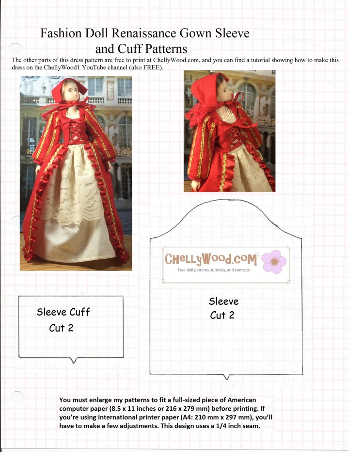 """Image of sewing pattern for Renaissance style sleeve with cuff. Pattern is designed to fit fashion dolls. Image of Momoko fashion doll wearing a Renaissance gown. Watermark says """"Chelly Wood dot com for free, printable sewing patterns to fit dolls of many shapes and sizes."""""""