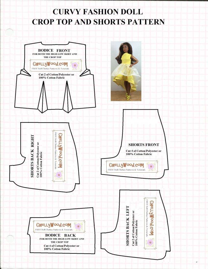 "Image of printable sewing pattern for shorts and a crop top (or dress bodice) to fit the Mattel Fashionista Curvy Barbie or Tammy Doll (from Ideal). Overlay says, ""ChellyWood.com: free, printable sewing patterns and tutorials."""