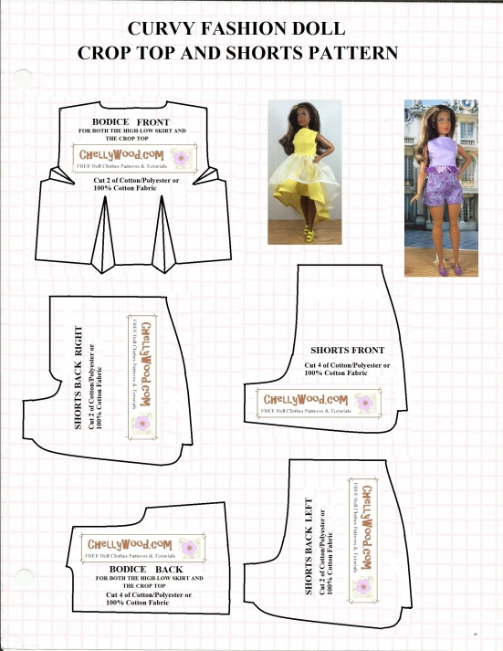 "Image of 6-piece sewing pattern designed to fit curvy fashion dolls like the Curvy Barbie from the Fashionista line, Lammily, and Ideal's Tammy Dolls. Pattern includes an image of Curvy Barbie wearing a shorts and crop-top shirt, along with an image of Curvy Barbie wearing a flouncy high-low dress with no sleeves. Within some of the patterns is a watermark that reads, ""Chelly Wood dot com: Free printable sewing patterns and tutorials."""