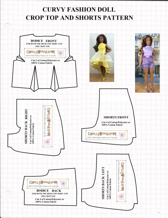 pattern designed to fit curvy fashion dolls like the Curvy Barbie ...