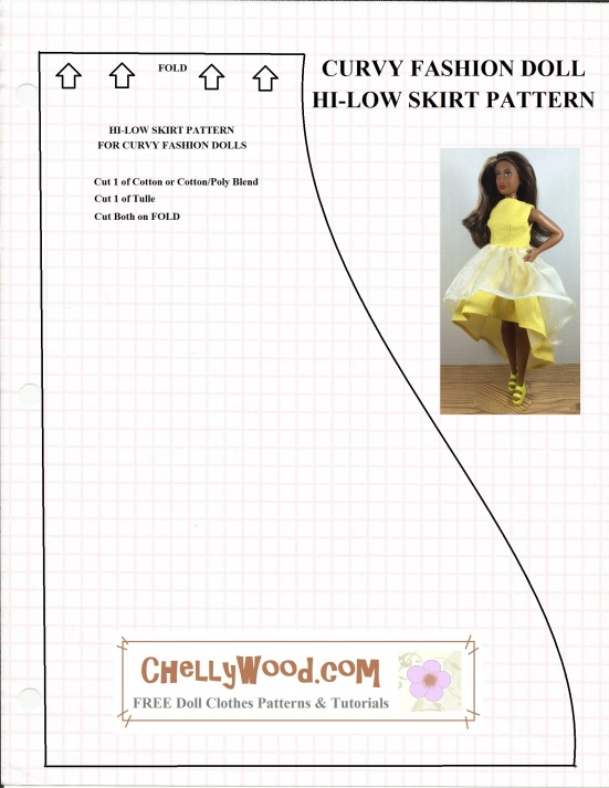 Here\'s the 1st of 2 FREE patterns for #Curvy #Barbies™ hi-low dress ...