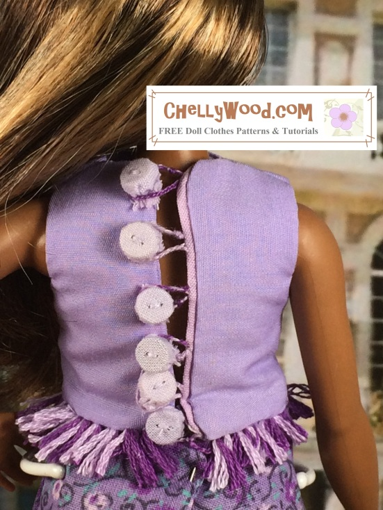 "Image of Curvy Barbie with her back to the camera. The crop top she wears has cloth-covered buttons in back with embroidery floss loops to fasten the buttons shut. Overlay says, ""Chelly Wood dot com: free, printable sewing patterns and tutorials for dolls of many shapes and sizes"""