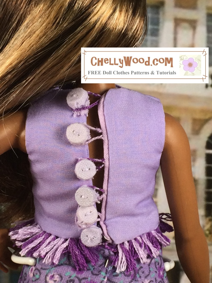 """Image of Curvy Barbie with her back to the camera. The crop top she wears has cloth-covered buttons in back with embroidery floss loops to fasten the buttons shut. Overlay says, """"Chelly Wood dot com: free, printable sewing patterns and tutorials for dolls of many shapes and sizes"""""""