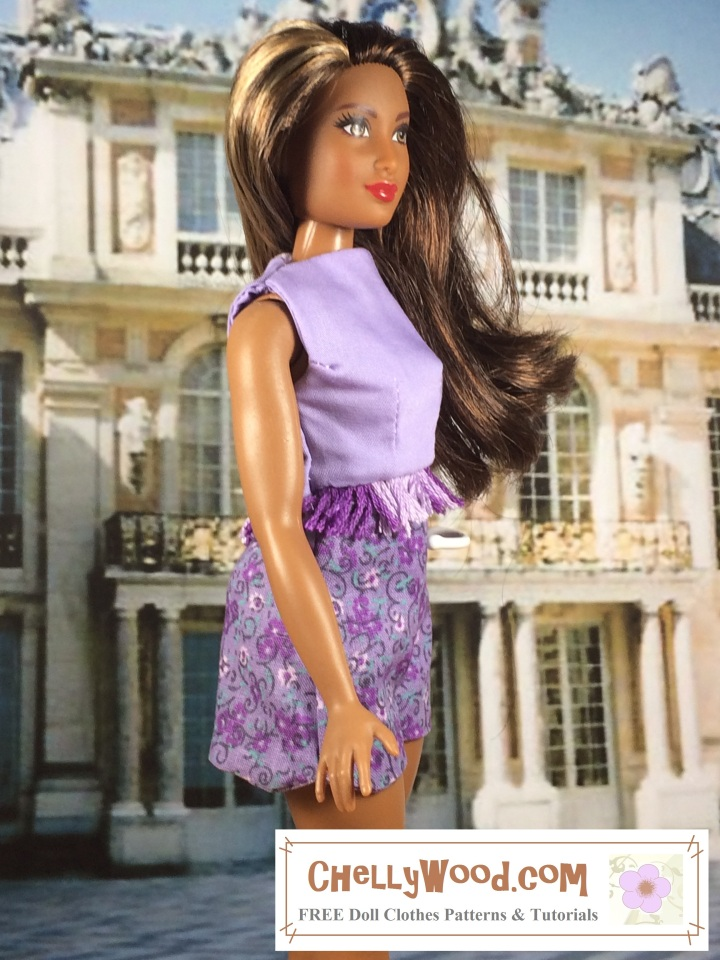 """Image of Mattel's Curvy Barbie ™ wearing a tailored crop-top with embroidery floss fringe and floral-printed shorts. The outfit is in a lovely lilac-and-purple color. Overlay says, """"Chelly Wood dot com: free printable sewing patterns and tutorials for dolls' clothes"""""""
