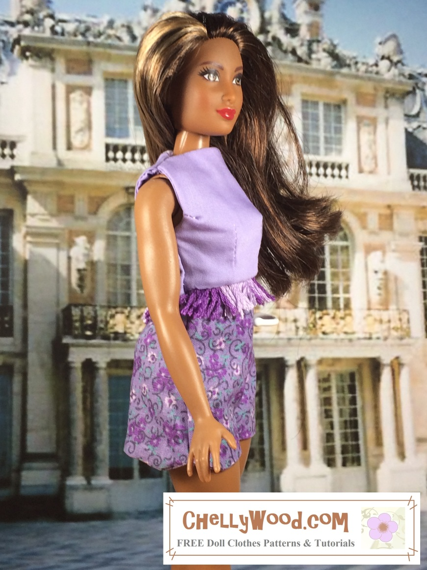 "Image of Mattel's Curvy Barbie ™ wearing a tailored crop-top with embroidery floss fringe and floral-printed shorts. The outfit is in a lovely lilac-and-purple color. Overlay says, ""Chelly Wood dot com: free printable sewing patterns and tutorials for dolls' clothes"""