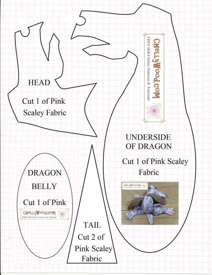 """Image of """"sleepy dragon"""" pincushion pattern with overlay that says, """"ChellyWood.com free printable doll clothes patterns and tutorials"""""""