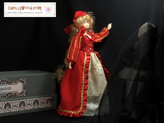 "Image of Momoko doll standing in a dark room (like a tomb) wearing a red gown and bonnet. Behind her is a rectangular dias; before her is the statue of a bust obscured by black tulle. The gown is an elegant red with gold trim and lace under-skirting. Overlay says, ""Chelly Wood Dot Com offers free, printable sewing patterns for dolls of many shapes and sizes. Free tutorials too!"""