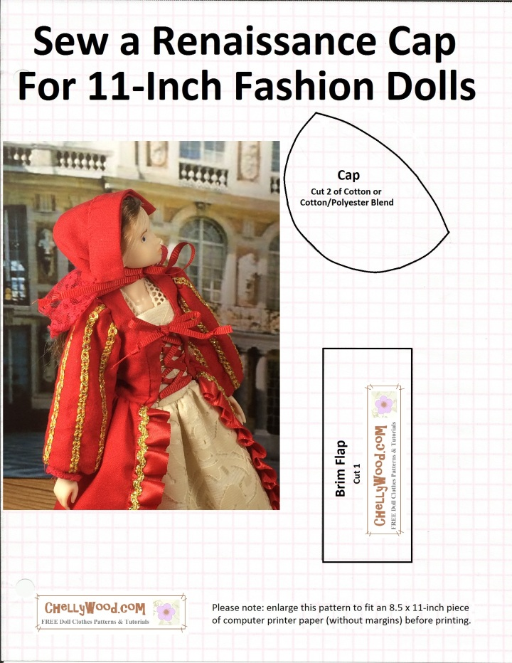 "Image of printable sewing pattern for a Renaissance-style cap or Pilgrim bonnet to fit Momoko or Barbie Dolls (trademark implied). Image includes an overlay that says, ""Sew a Renaissance Cap for 11-inch fashion dolls"" and watermark image says chelly wood dot com free doll clothes patterns and tutorials"" and there's also an image of a Momoko doll wearing a red-and-gold Renaissance gown with laced-up bodice and red Pilgrim-style bonnet edged in red lace."