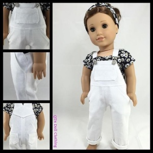 """Image of 18"""" doll wearing handmade overalls with daisy-patterned short-sleeve shirt and hair bandana to match daisy-print shirt. Overlay says """"qtpipatterns.com"""" (pronounced cutie pie patterns dot com)"""