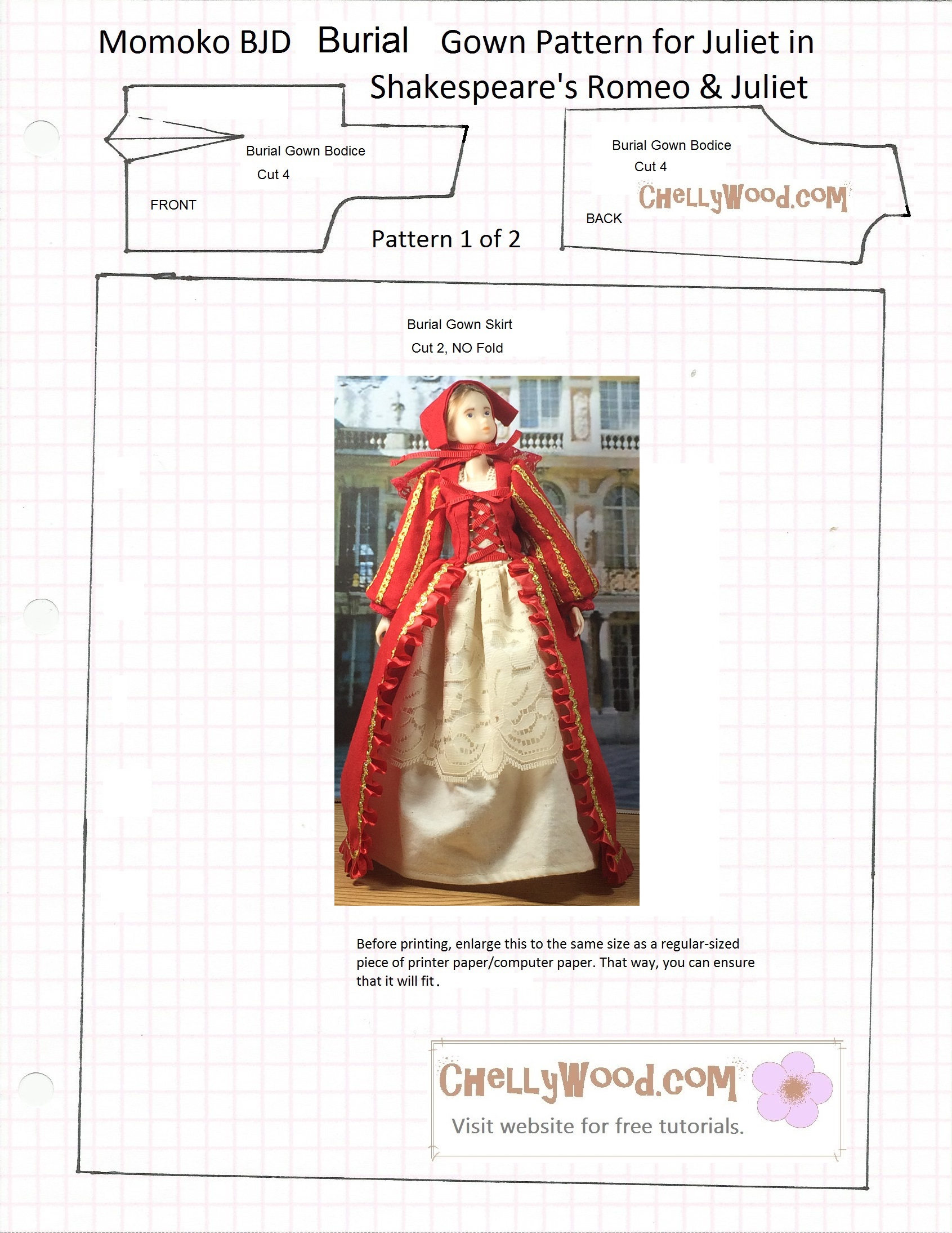 Free sewing pattern fits momokodoll blythedoll and pullipdoll pattern for the red gowns bodice and skirt jeuxipadfo Gallery
