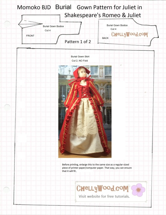 "Image of Sekiguchi Momoko doll in Renaissance ball gown atop free, printable sewing pattern for the gown. Overlay says, ""Chelly Wood dot com for free, printable sewing patterns for dolls of all shapes and sizes."""