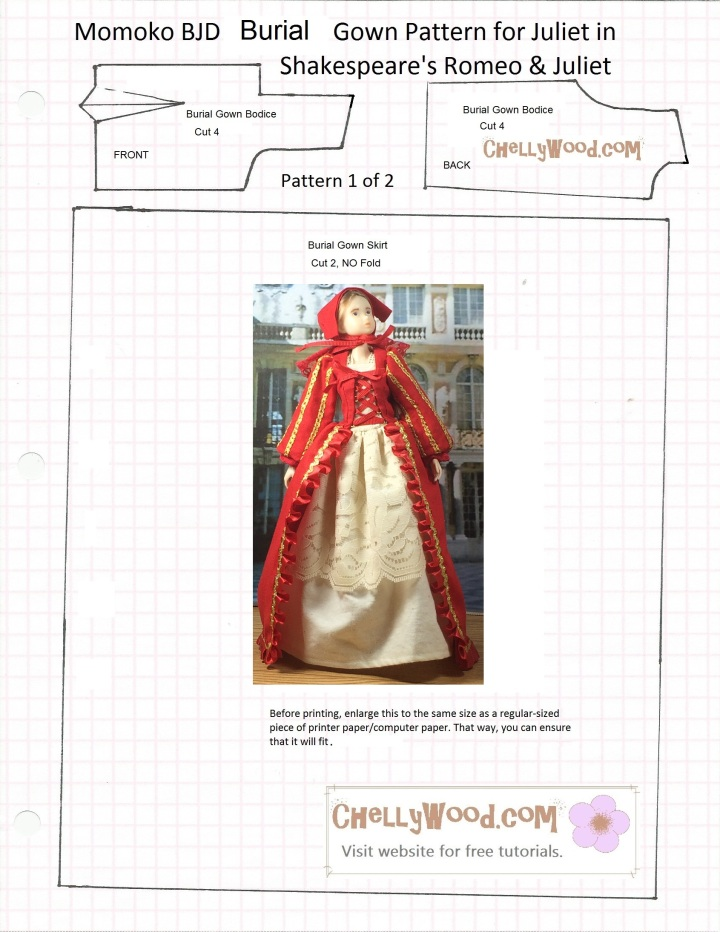 """Image of Sekiguchi Momoko doll in Renaissance ball gown atop free, printable sewing pattern for the gown. Overlay says, """"Chelly Wood dot com for free, printable sewing patterns for dolls of all shapes and sizes."""""""