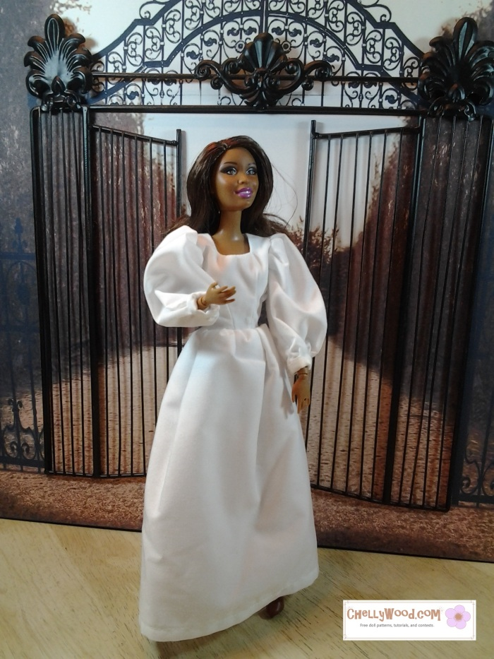 Visit Chellywood.com for free, printable sewing patterns for dolls of many shapes and sizes. Image of Barbie doll wearing a long-sleeved wedding dress or simple white dress. She stands before a metal gate that seems to lead into a garden.