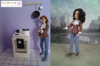 "Image of Breyer model horse rider doll ""Laura"" and World of Love doll from Hasbro both wearing the same western-style shirt and blue jeans. Each doll stands in a diorama; the Breyer doll is in a kitchen with stove and frying pan; the World of Love doll stands on a sandy ground with a mountain in the background. Overlay says, ""Visit ChellyWood.com for free printable sewing patterns for dolls of many shapes and sizes."""