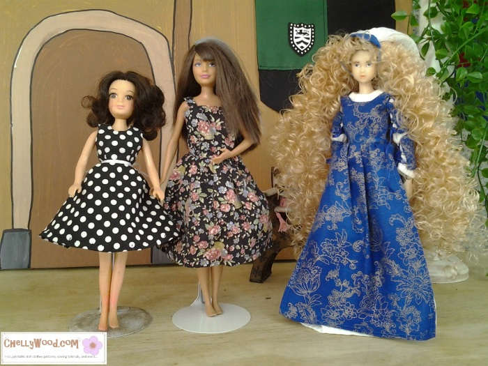 "Image of a World of Love doll from Hasbro, Mattel's Skipper, and Momoko from PetWorks. Each doll stands in a handmade dress. Overlay says, ""Chelly Wood Dot Com Free printable doll clothes patterns and tutorials."""