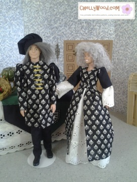 Visit ChellyWood.com for free, printable patterns for dolls of many shapes and sizes. Image shows Barbie dressed in a long gown with puffy sleeves, and Ken dressed in renaissance garb. Ken wears a muffin cap (the style that's common at Renaissance faires). Patterns for these costumes are free to print at chelly wood dot com.