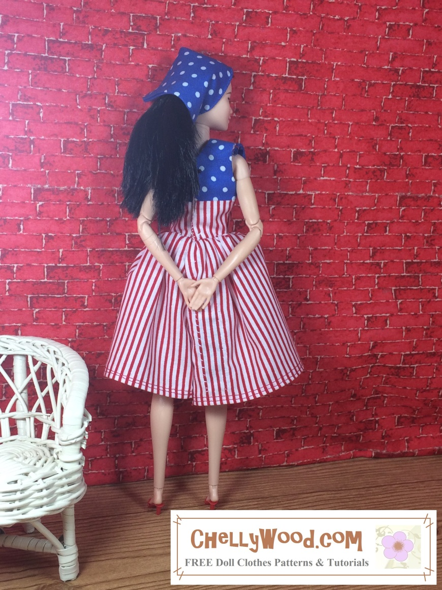 """Visit ChellyWood.com for free, printable doll clothes patterns to fit dolls of many shapes and sizes. Image shows Made to Move Barbie seated in a white wicker chair with a brick background and wooden floor. She wars a handmade scarf of blue with white polka dots. Her dress, which is hand-sewn to look like an American flag, has more blue-and-white polka dot fabric in the right corner of the dress. The rest of the dress's fabric is made of red and white stripes. An image at the bottom of the picture says, """"Chelly Wood dot com: free, printable sewing patterns for dolls of many shapes and sizes."""""""