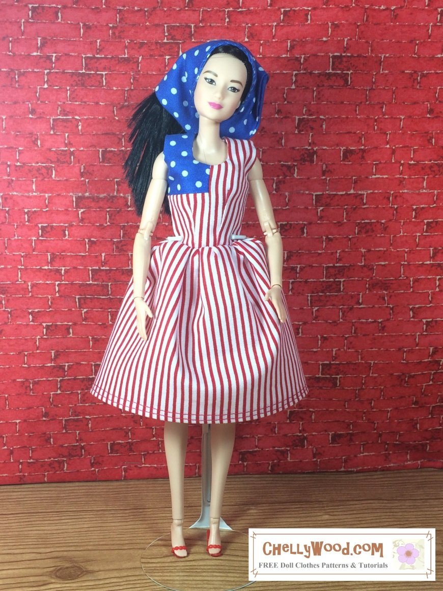 """Visit ChellyWood.com for free, printable sewing patterns to fit dolls of many shapes and sizes. Image shows Made to Move Barbie wearing a handmade dress which looks a lot like a United States Flag. One corner of the dress is made of blue and white polka dot fabric. The rest of the dress is made of red and white stripes. The doll also wears a headscarf made of blue and white polka dots and red, plastic, high-heeled sandals. The bottom corner of the image says, """"Chelly Wood Dot Com: free printable sewing patterns for dolls of many shapes and sizes."""""""