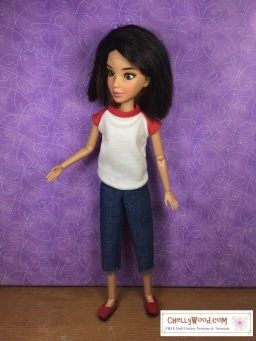 Visit ChellyWood.com for free, printable sewing patterns to fit dolls of many shapes and sizes. Image shows Spin Master Liv doll wearing a raglan-sleeved T-shirt, handmade shoes, and a capri pants. This and other similar patterns are free at ChellyWood.com.