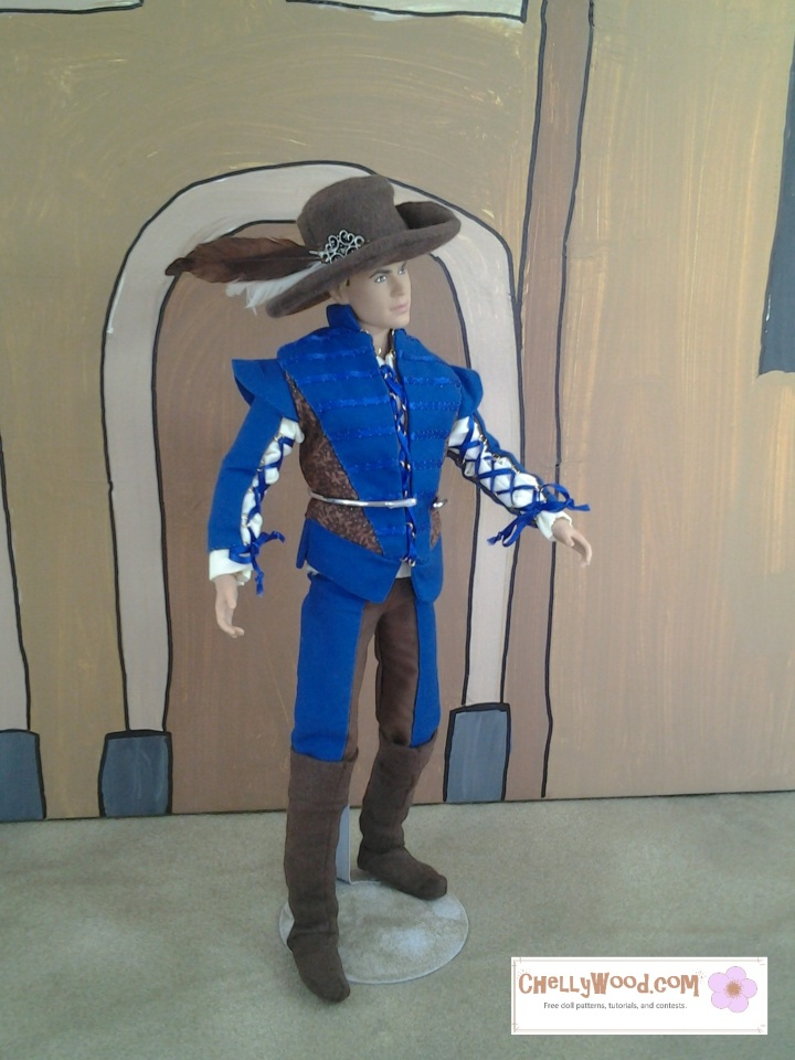 Visit ChellyWood.com for free, printable sewing patterns to fit dolls of many shapes and sizes. Image shows Texas A and M Ken wearing Renaissance Faire garb including a cavalier hat, leather-looking boots, bi-colored trousers, a doublet with lace-up sleeves, and a blousy shirt. Patterns for all pieces of this costume are free to print at ChellyWood.com.