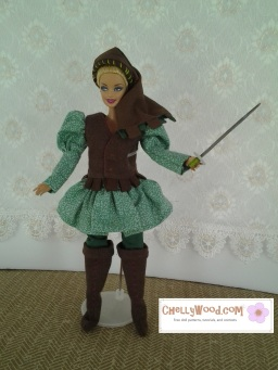 Visit ChellyWood.com for free, printable sewing patterns to fit dolls of many shapes and sizes. Image shows fashion doll (like Barbie) wearing a Renaissance faire costume with puff-sleeves, high boots, a skirted tunic, pants, and a vest. Her hat is Renaissance-style with ribbon-like windings around a puffy crown. She bears a little sword.