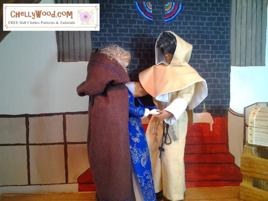 Visit ChellyWood.com for free, printable sewing patterns for dolls of many shapes and sizes. Image shows a Momoko doll wearing elegant Renaissance doll clothes facing a Texas A&M Ken doll wearing a medieval monk's hood and robes. They hold hands in a church. Visit ChellyWood.com to find out more about this doll version of Romeo and Juliet.