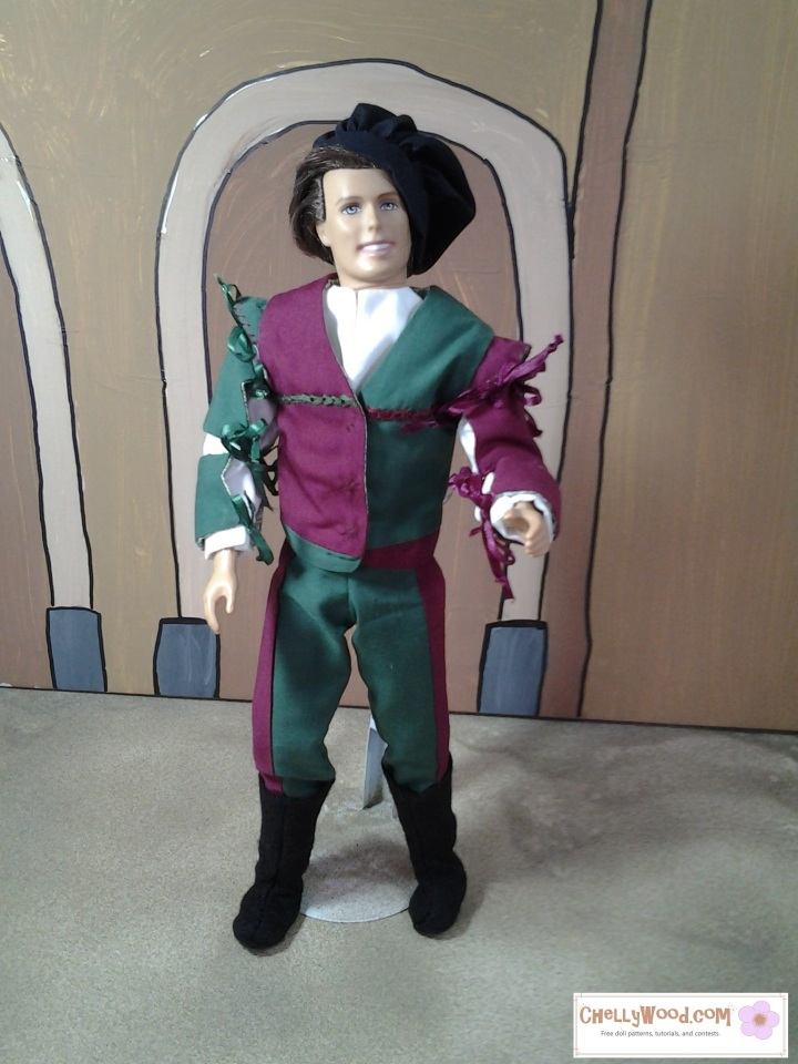 "Visit ChellyWood.com for free printable sewing patterns for dolls of many shapes and sizes. Image shows Ken doll in charming Renaissance cosplay gear/clothes including bi-colored pants, renaissance doublet, ribbon-tied sleeves, fancy shirt, felt boots, and muffin cap. Watermark says, ""Chelly Wood dot com for free, printable sewing patterns to fit dolls of many shapes and sizes."""