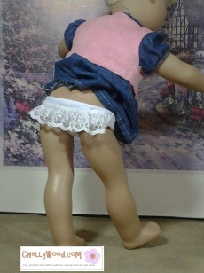 Click here to find all the patterns and tutorials you'll need to make this project: https://chellywood.com/2016/07/29/free-panties-patterns-fit-agdolls-and-madamealexander-dolls-chellywood-com/ (Scroll down when you get to that page.)