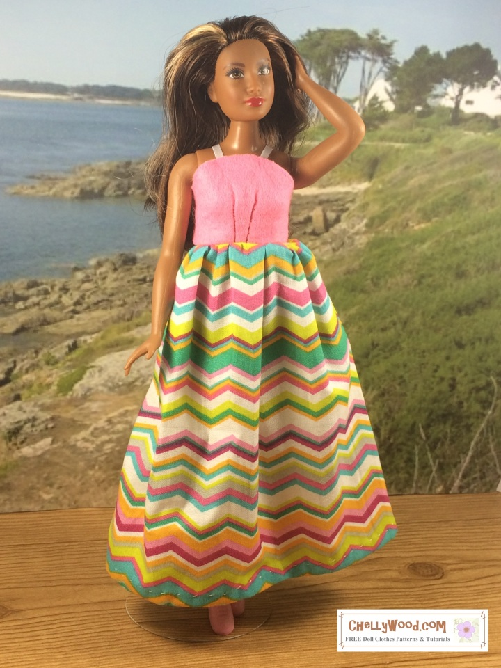 Curvy Barbie, free printable sewing pattern for a Long Sundress doll clothes dress PDF easy sew patterns and sewing projects for kids and beginners